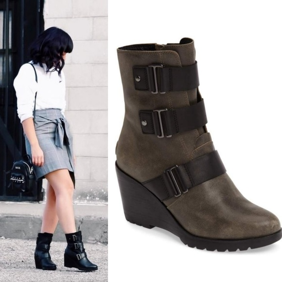 d5b2daf5a1a SOREL After Hours Leather Wedge Bootie. M 5a6790021dffda66a7404cba